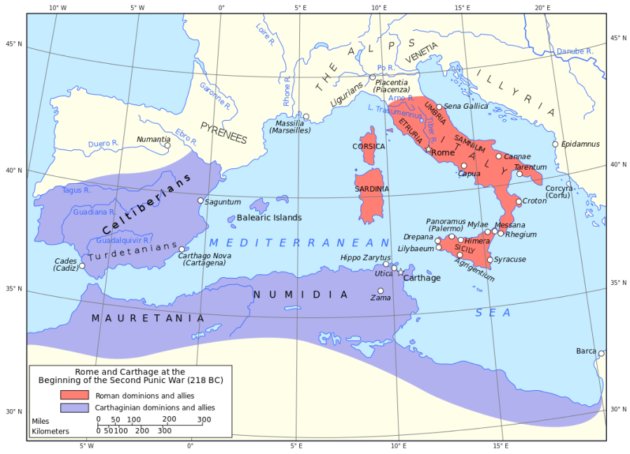 Map of Carthage and Rome