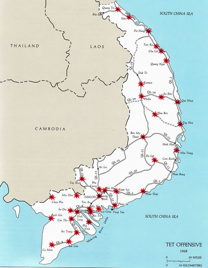 A number of South Vietnamese targets during the Tet Offensive