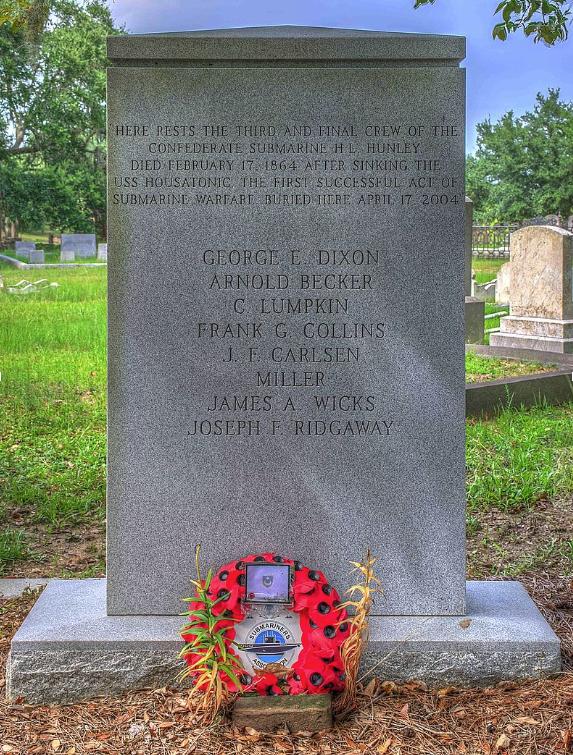 Hunley crew cemetary memorial
