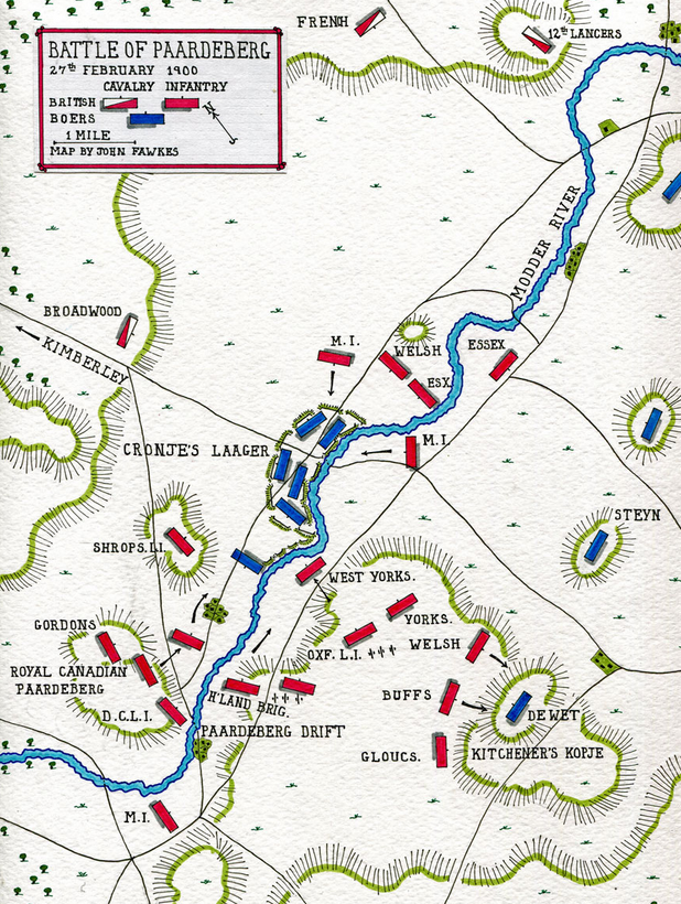 Boer War Battle of Paardeberg map