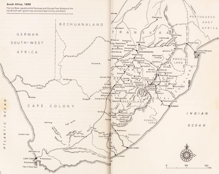 South Africa 1899 Boer War Map