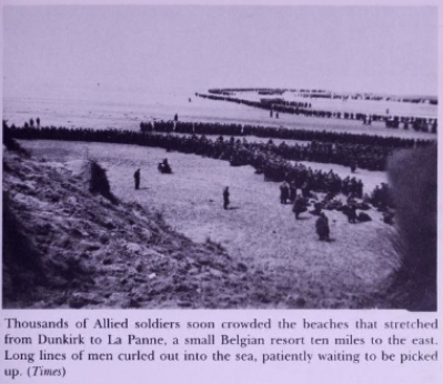 Allied soldiers wait to be picked up on beaches of Dunkirk